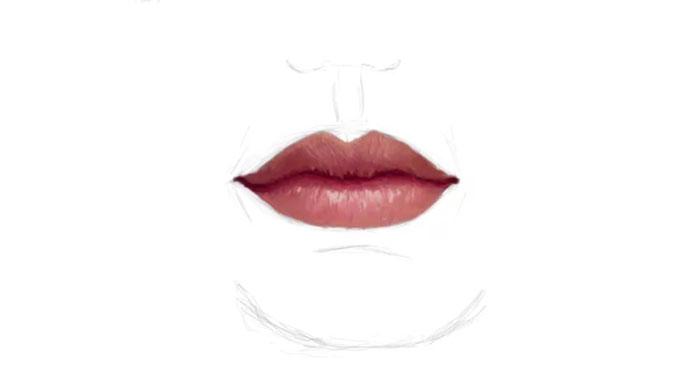Как нарисовать губы человека карандашом
