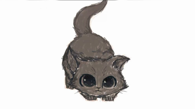 Как нарисовать красивую кошку карандашом
