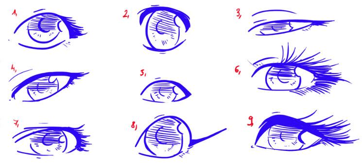 Как нарисовать женские глаза