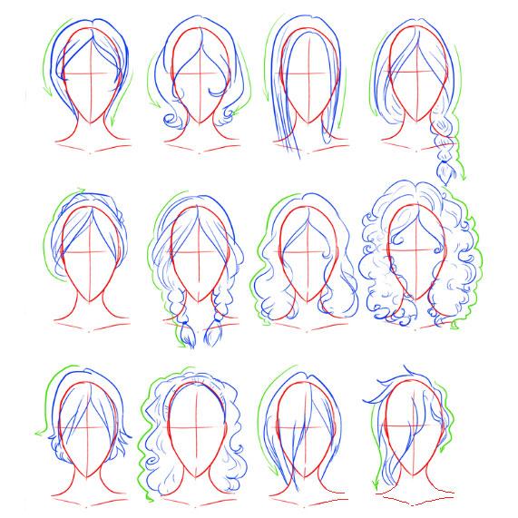 Как нарисовать женскую прическу