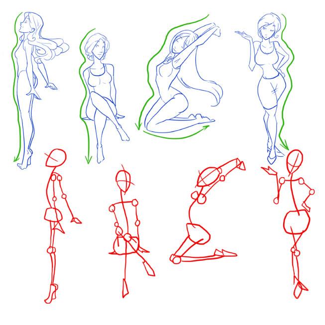 Как рисовать в позах людей поэтапно