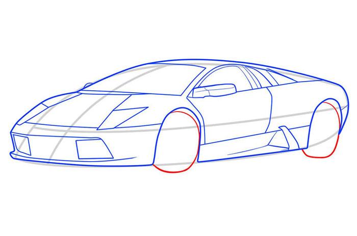 рисовать Lamborghini Murcielago