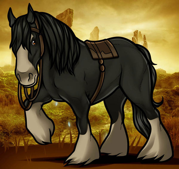 Рисуем коня Ангуса