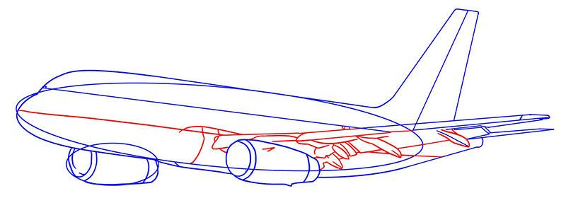 Самолет как рисовать поэтапно