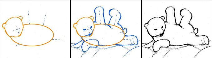 Этапы наброска эскиза, главные линии образа медвежонка