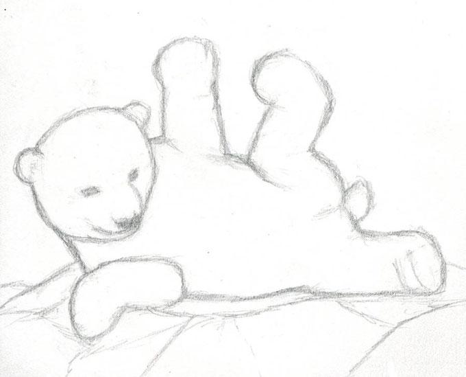 Готовый эскиз белого медвежонка