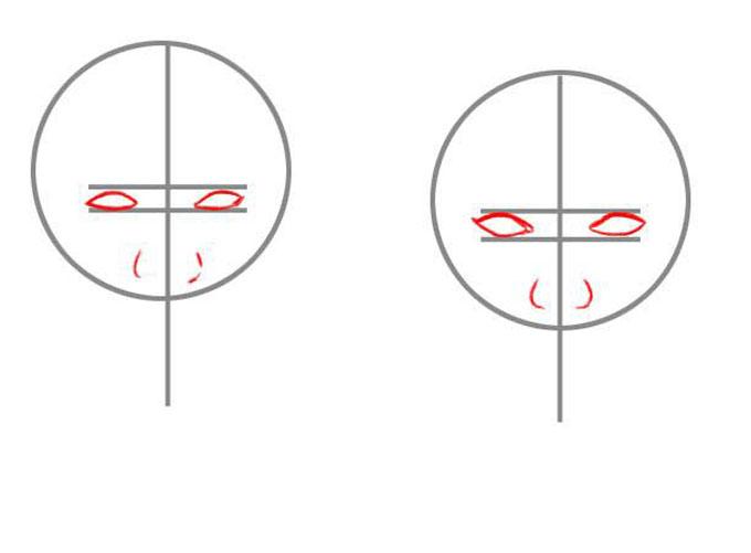 Делаем наброски глаз и носа