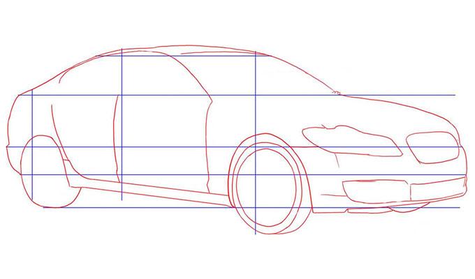Прорисовываем контуры автомобиля Ягуар Xf