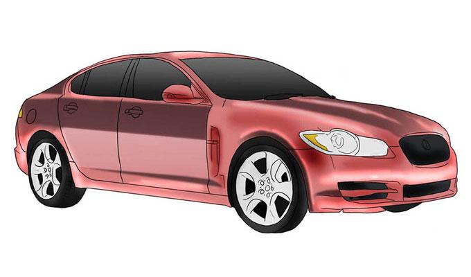Как рисовать автомобиль, Рисуем Ягуар Xf