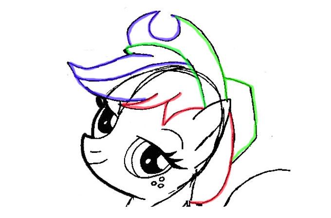 Рисуем шляпу и волосы Пони Эпл Джек