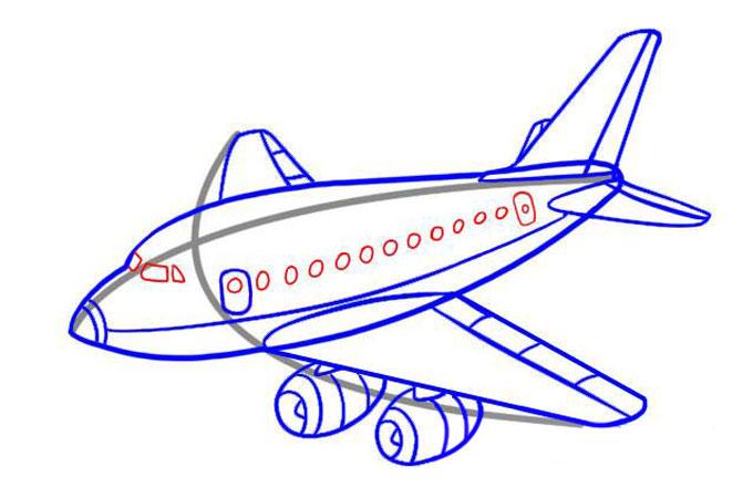 Рисуем иллюминаторы самолета, а также кабины пилота