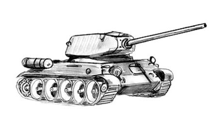 Рисуем тени Танка Т 34