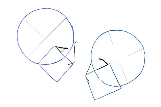 Рисуем линии носа и глаз