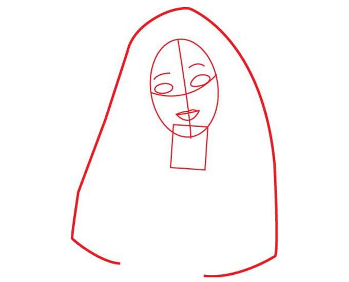 Рисуем форму головы для Барби