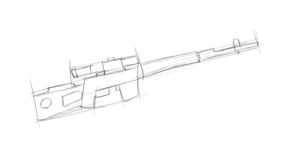 Рисуем части винтовки