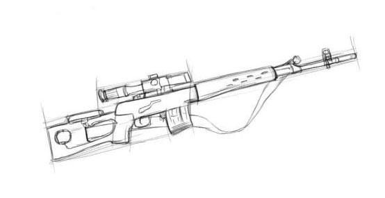 Рисуем приклад и ремень винтовки