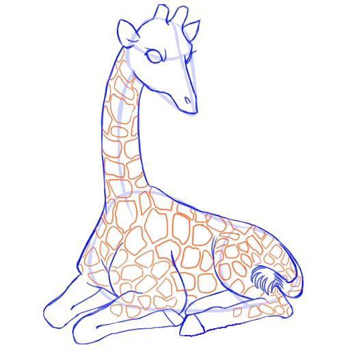 Рисуем пятна на теле жирафа