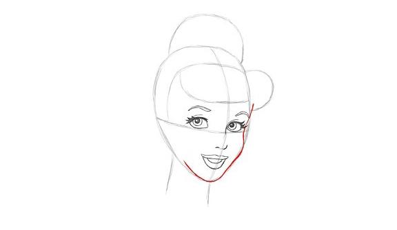 Рисуем контур лица Золушки