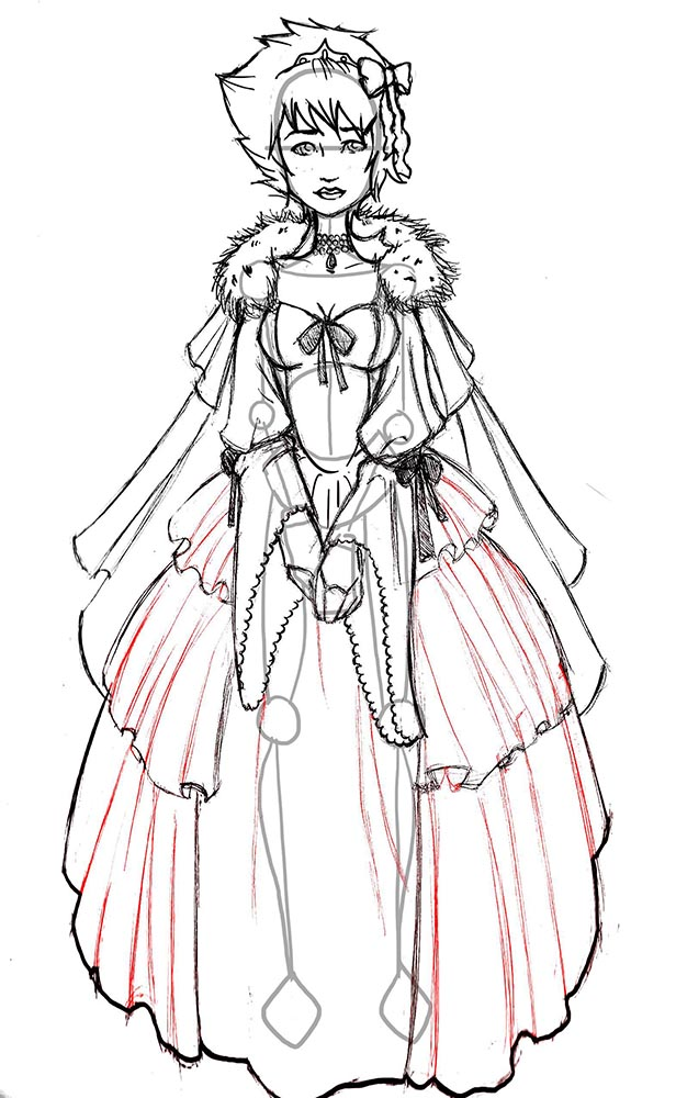 Заканчиваем рисовать юбку принцессы
