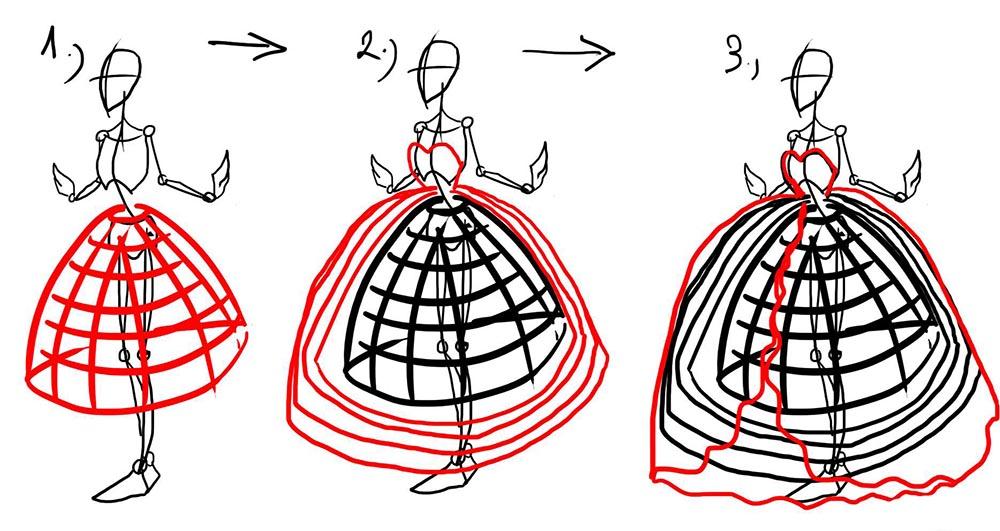Как рисуется юбка принцессы
