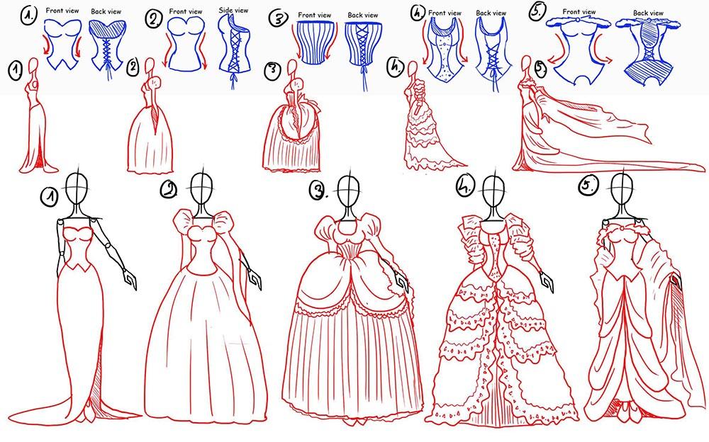 Различные виды платьев принцесс