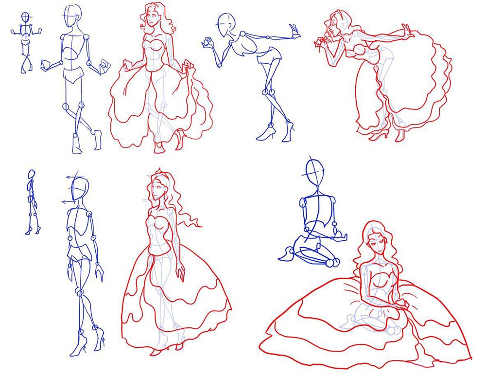 Варианты изображения позы принцессы