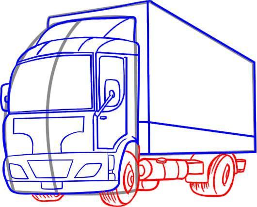Рисуем колеса, бак, раму и крылья грузовика