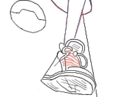 Рисуем шнурки на кедах Хиро Хамада