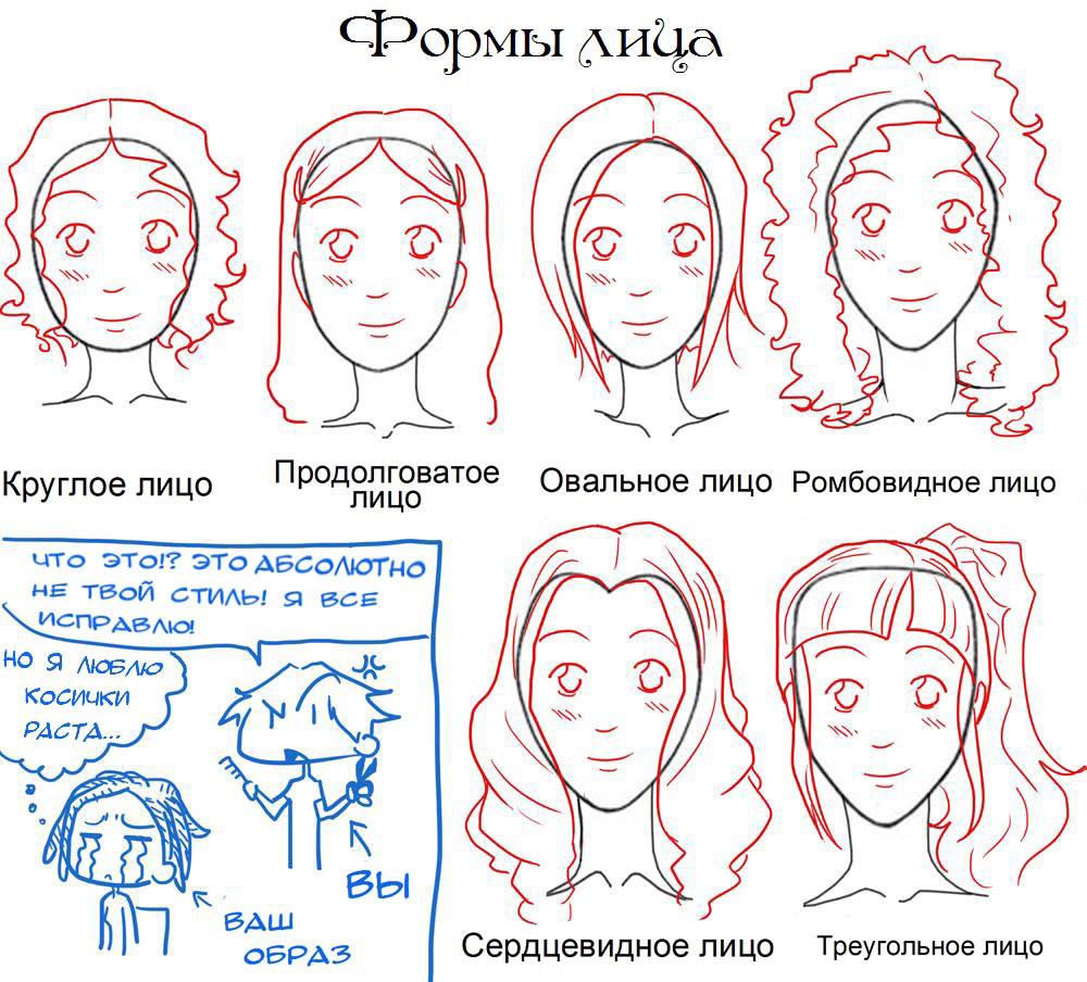 Рисуем форму лица девушки