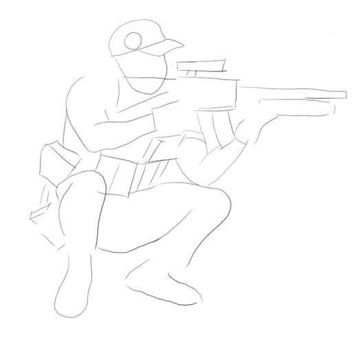 Рисуем контуры тела и винтовки снайпера