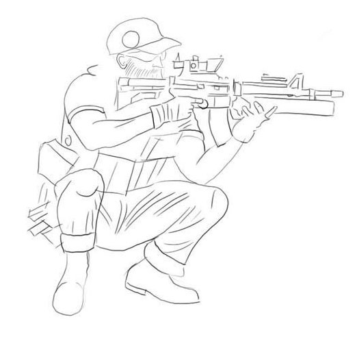 Рисуем одежду снайпера