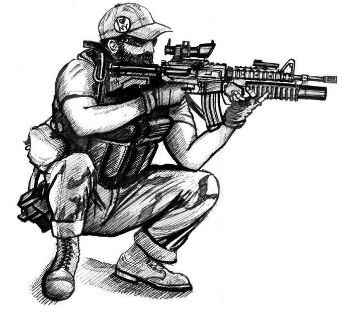 Учимся как нарисовать снайпера карандашом