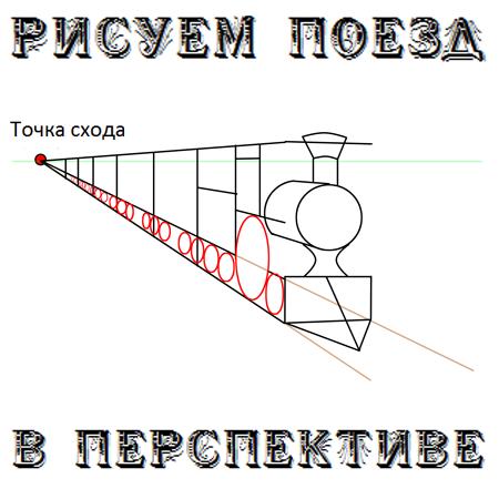 Как рисовать поезд в перспективе